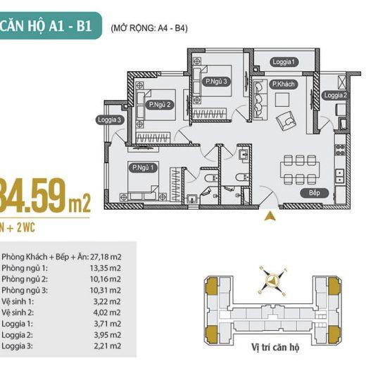 Mặt bằng thiết kế căn hộ A1 – B1 – A4 – B4