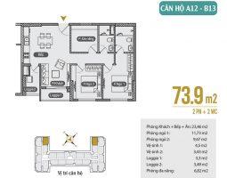 Mặt bằng thiết kế căn hộ A2 – B13