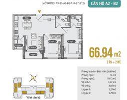Mặt bằng thiết kế căn hộ A2 – B2 – A3 – B3 – A6 – B6 – A11 – B7 – B12