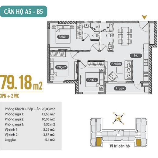 Mặt bằng thiết kế căn hộ A5 – B5