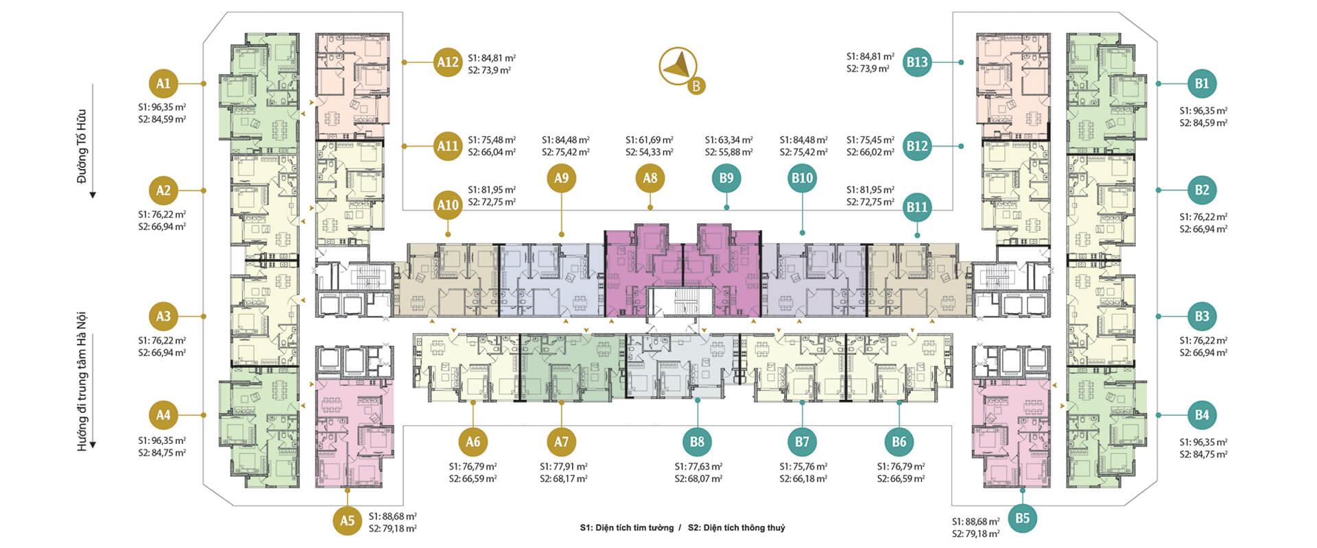 Mặt bằng điển hình chung cư Anland Premium Dương Nội
